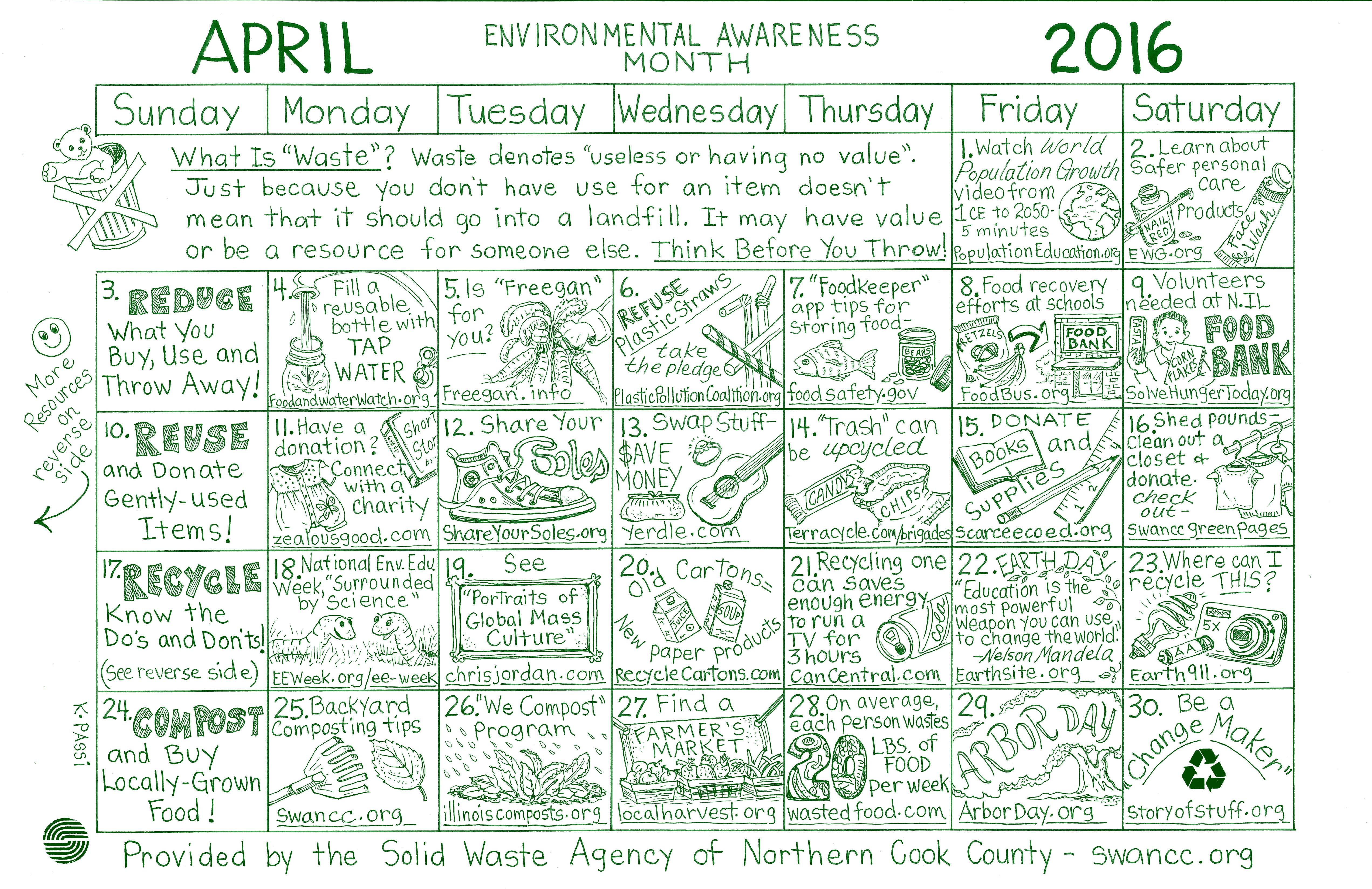 April Calendar Education World : Earth day activities solid waste agency of northern cook