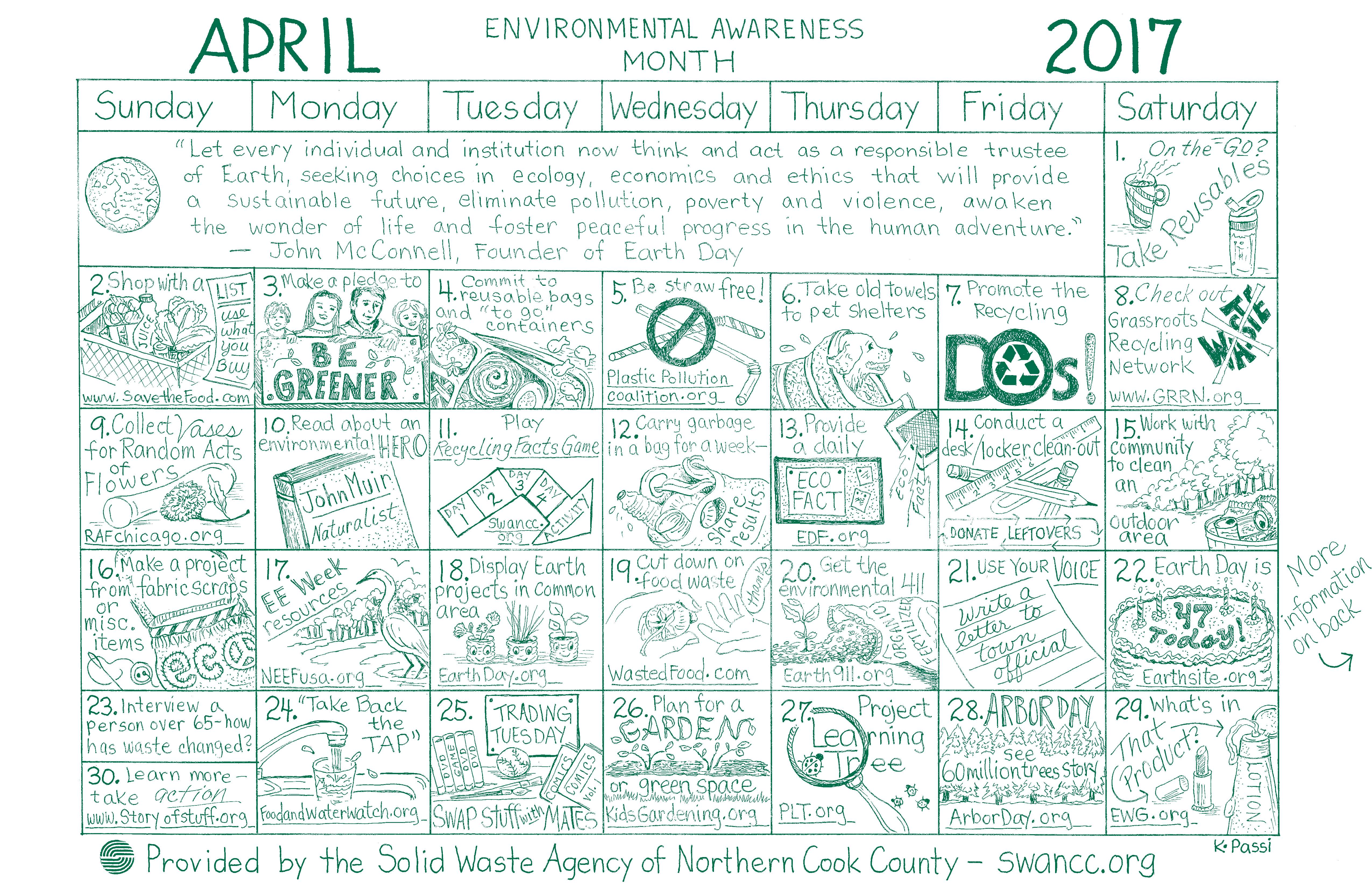 April Calendar Education World : April calendar solid waste agency of northern cook county