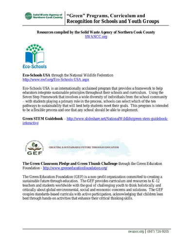 Green Programs and Resources for Schools and Youth