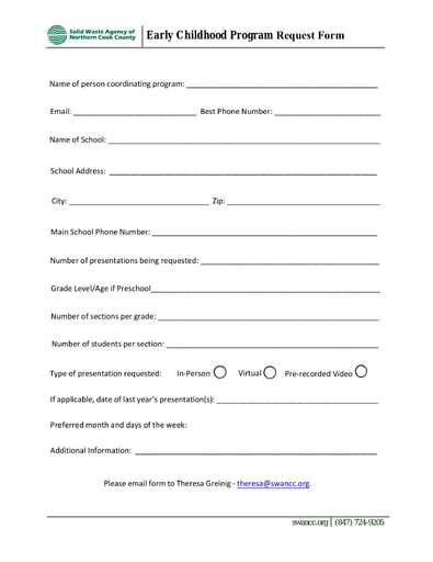 Early Childhood Program Request Form