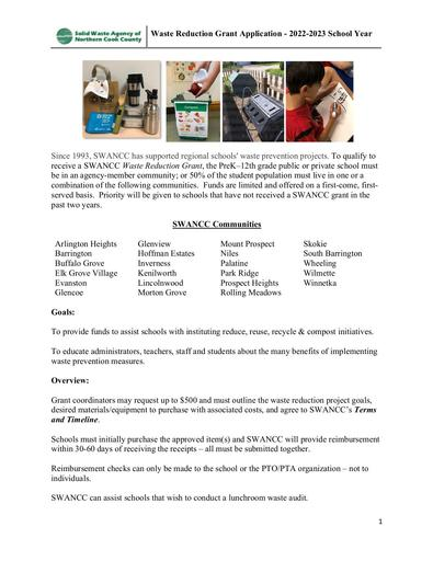 Waste Grant Application 2021 2022