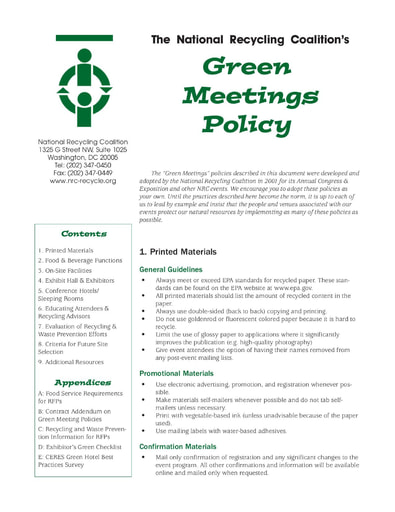 Green Meetings Guide, NRC